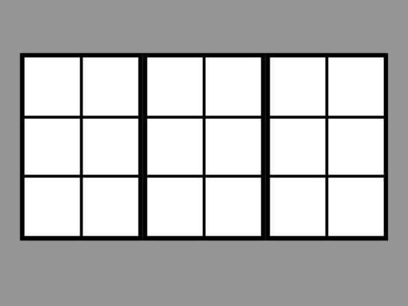 Trio 130x255cm black 18 segment