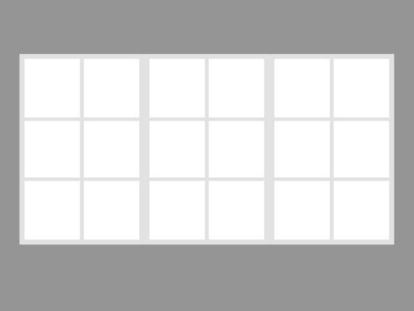 Trio 130x255cm white 18 segment