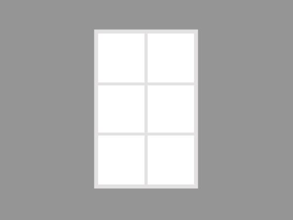 Single 85x130cm white 6 segment